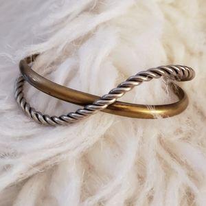 ⚡Copper & Silver Twisted Cuff Bracelet